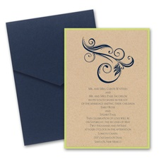 Kraft Paper Layered Wedding Invitation with Pocket