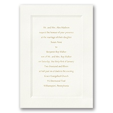 Ecru Triple Frame Wedding Invitation