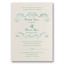 Delicate Flourishes Foil Wedding Invitation - Ecru Shimmer
