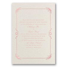 Dainty Frame Foil Wedding Invitation - Ecru Shimmer