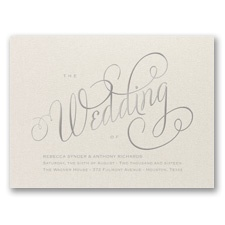 Wedding Typography Foil Wedding Invitation - Ecru Shimmer