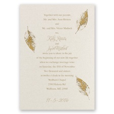 Fall Leaves Foil Wedding Invitation - Ecru Shimmer
