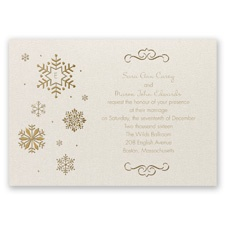 Falling Snowflakes Foil Wedding Invitation - Ecru Shimmer