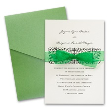 Ecru Wedding Invitation with Pocket