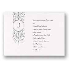 Silver Pendant Monogram Wedding Invitation