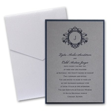 Pewter Layered Wedding Invitation with Pocket