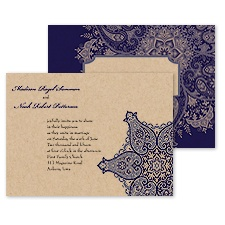 Paisley Star Wedding Invitation - Eggplant