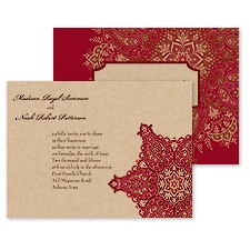 Paisley Star Wedding Invitation - Merlot