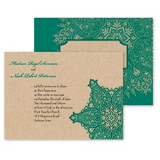 Paisley Star Wedding Invitations - Peacock