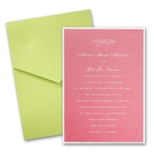 Hot Pink Shimmer Layered Wedding Invitation with Pocket