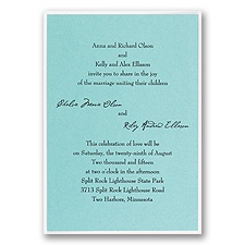 Aqua Shimmer Layered Wedding Invitation