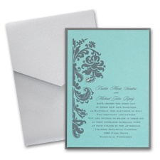 Aqua Shimmer Layered Wedding Invitation with Pocket