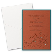 Copper Shimmer Layered Wedding Invitation with Pocket