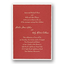 Red Shimmer Layered Wedding Invitation
