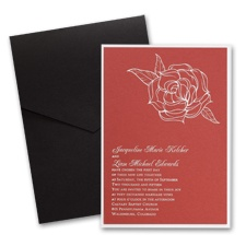 Red Shimmer Layered Wedding Invitation with Pocket