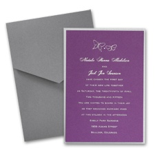 Purple Shimmer Layered Wedding Invitation with Pocket