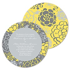 Rustic Flowers Wedding Invitation - Stainless