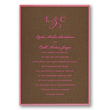 Mocha Shimmer Layered Wedding Invitation
