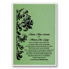 Green Shimmer Layered Wedding Invitation
