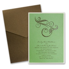 Green Shimmer Layered Wedding Invitation with Pocket
