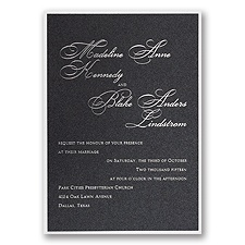Black Shimmer Layered Wedding Invitation