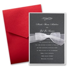 Black Shimmer Layered Wedding Invitation with Pocket