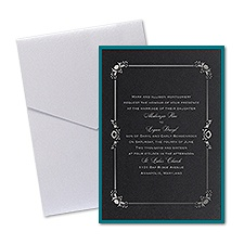 Dainty Frame Layered Foil Wedding Invitation - Pocket - Black