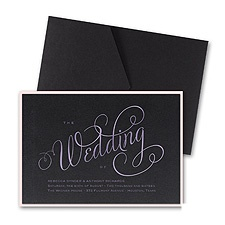 Wedding Typography Layered Foil Wedding Invitation - Pocket - Black