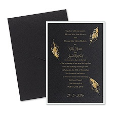 Fall Leaves Layered Foil Wedding Invitation - Pocket - Black
