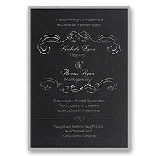 Delicate Flourishes Layered Foil Wedding Invitation - Black
