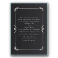 Dainty Frame Layered Foil Wedding Invitation - Black