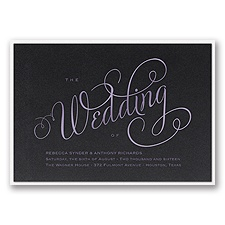 Wedding Typography Layered Foil Wedding Invitation - Black