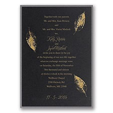 Fall Leaves Layered Foil Wedding Invitation - Black