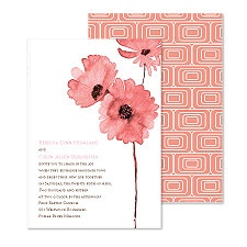 Flower Style Wedding Invitation - Salmon