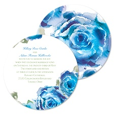 Rosy Watercolors Wedding Invitation - Blue