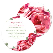 Rosy Watercolors Wedding Invitation - Cherry