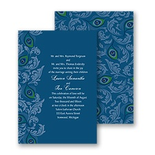Peacock Filigree Wedding Invitation