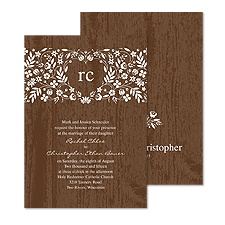 Woodland Flowers Wedding Invitation - Espresso