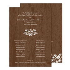 Woodland Flowers Wedding Program - Espresso