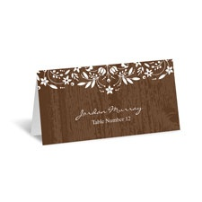 Woodland Flowers Place Card - Espresso
