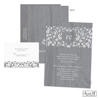 Woodland Flowers Wedding Invitation - Pewter