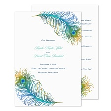 Peacock Feather Wedding Program
