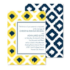 Ikat Diamonds Wedding Invitation - Midnight