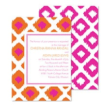 Ikat Diamonds Wedding Invitation - Fuchsia