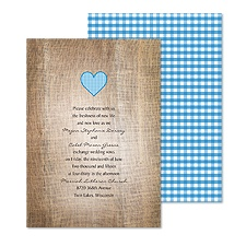 Love Gingham Wedding Invitation - Blue