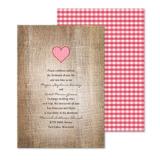 Love Gingham Wedding Invitation - Cherry