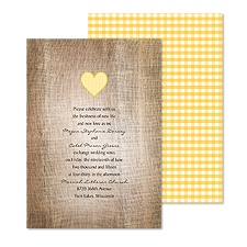 Love Gingham Wedding Invitation - Marigold
