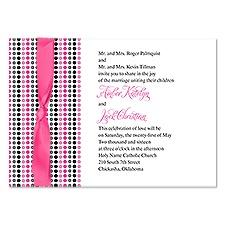 Dotted Stripes Wedding Invitation - Bubble Gum