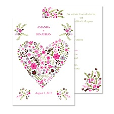 Floral Heart Wedding Invitation - Fuchsia