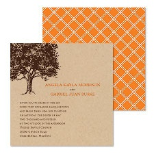 Leafy Tree Wedding Invitation - Kraft Paper